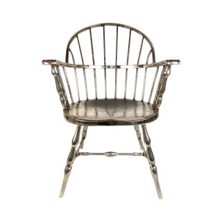 Steel Nickle Plated Windsor Style Philadelphia Library Chair 1930 For Sale