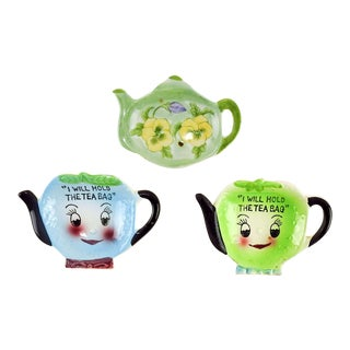 Teapot Shaped Tea Bag Holders - Set of 3 For Sale