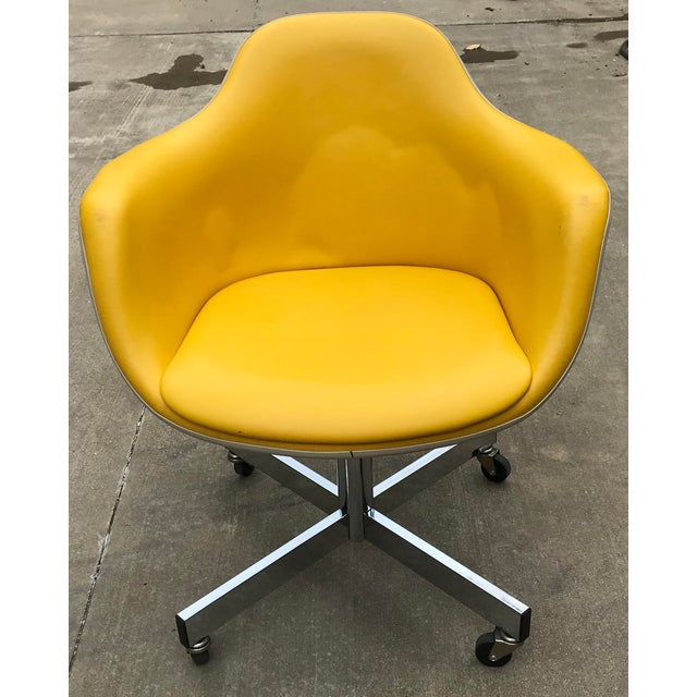 Vintage Mid Century Yellow Eames Style Shell Rolling Desk Chair For Sale - Image 13 of 13