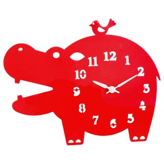 Acrylic Red Hippo Hanging Clock For Sale