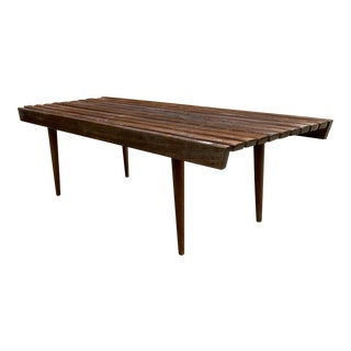 Mid Century Modern Slat Bench For Sale