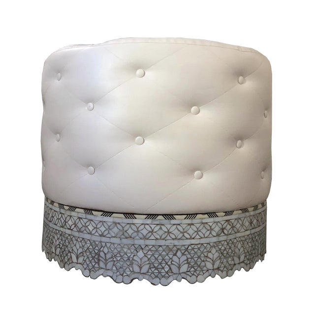 Mother of Pearl Inlay Large Ottoman For Sale