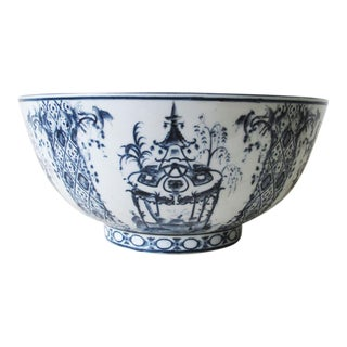 19th Century White & Blue Porcelain Punch Bowl For Sale