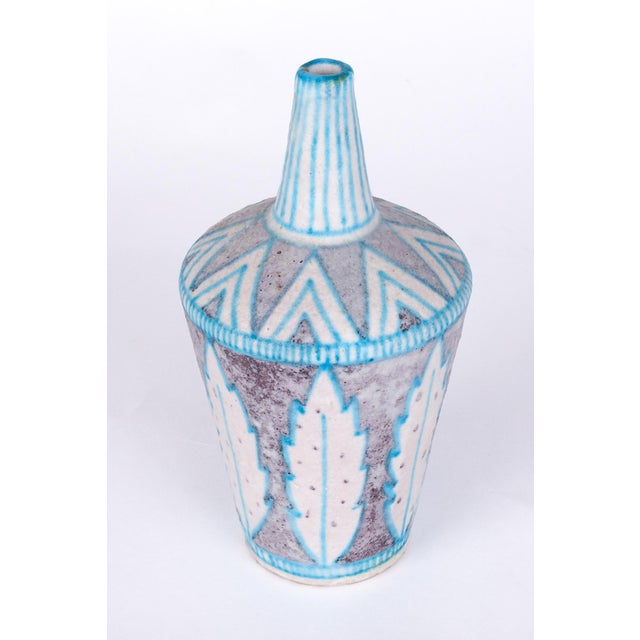 Italy, 1950's Lively, geometric glazed ceramic C.A.S. Vietri vase in the style of Guido Gambone, with a graceful...