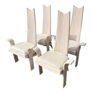 Vintage Coastal Pretzel Rattan Dining Chairs After McGuire For Sale