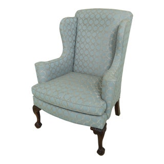 Ball & Claw Mahogany Legged Chippendale Wing Chair For Sale