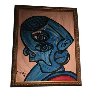 Peter Keil Blue Picasso Abstract Cubist Painting For Sale