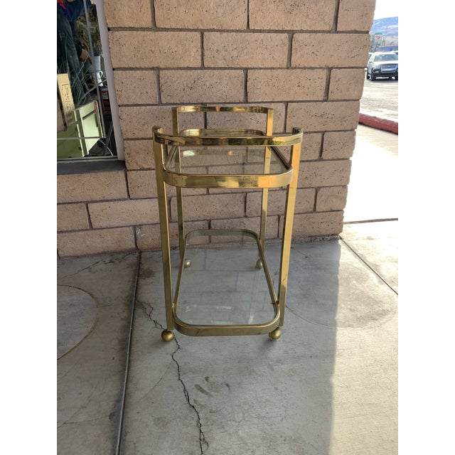 Mid-Century Modern 1970s Milo Baughman For DIA Rolling Brass Bar Cart For Sale - Image 3 of 7