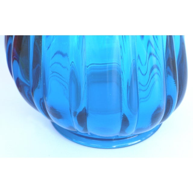 Blenko Overscale Mid-Century Modern l.e. Smith Blue Blown Glass Vase For Sale - Image 4 of 5