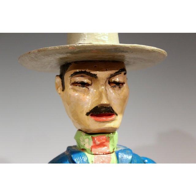 Wood Old Folk Art Figurine of Gunslinger Western Cowboy Gambler For Sale - Image 7 of 11