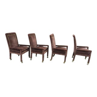 Midcentury Modern Mastercraft Velvet Dining Chairs- Set of 4 For Sale