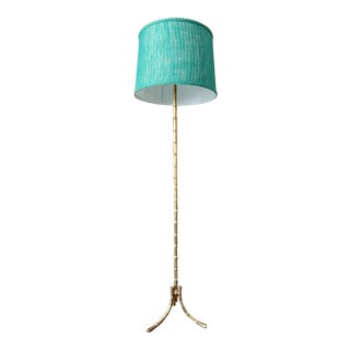 Mid 20th Century Maison Baguès Style Bamboo Brass Floor Lamp For Sale
