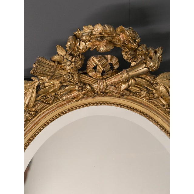 Antique French Louis XVI Style Oval Mirror circa 1890 - Image 3 of 8