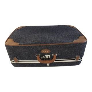 "Vintage Blue Tweed ""Via Ventura"" Large Suitcase For Sale"