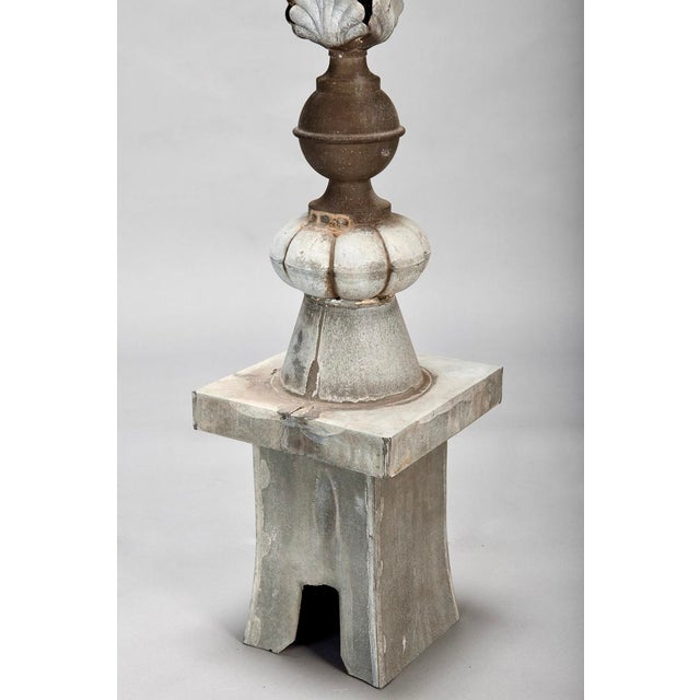 French Architectural Zinc Rooftop Finial with Stemmed Flowers For Sale - Image 5 of 6