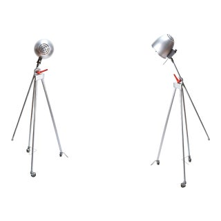 1980s Post Modern Articulating Floor Lamps on Casters - a Pair For Sale
