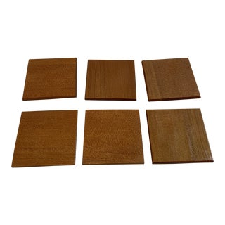 1960s Mid-Century Modern Wooden Coasters - Set of 6 For Sale