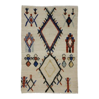 Moroccan Style Rug With Tribal Style, High and Low Texture Rug, 04'01 X 06'02 For Sale