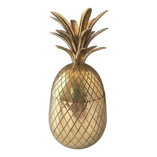 1960s Hollywood Regency Brass Pineapple Ice Bucket For Sale