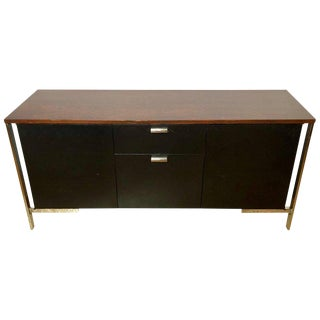 Midcentury Chrome Rosewood and Ebony File Cabinet or Server by Milo Baughman For Sale