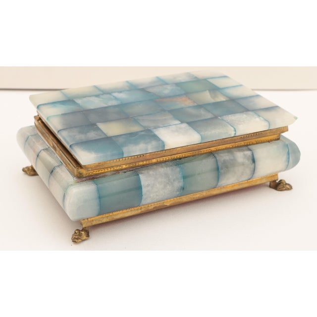 White Blue Onyx & Brass Hinged Box For Sale - Image 8 of 8