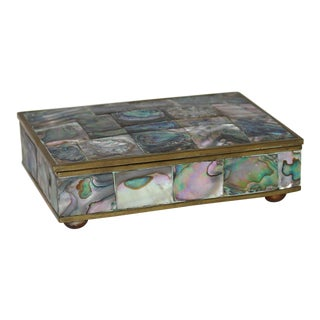 Mid-Century Modern Tessellated Abalone Box Hinged and Footed For Sale