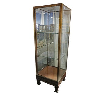 Mid Century Traditional Brown Wood and Glass Showcase For Sale