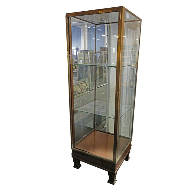 Wood and Brass Display Cabinet For Sale