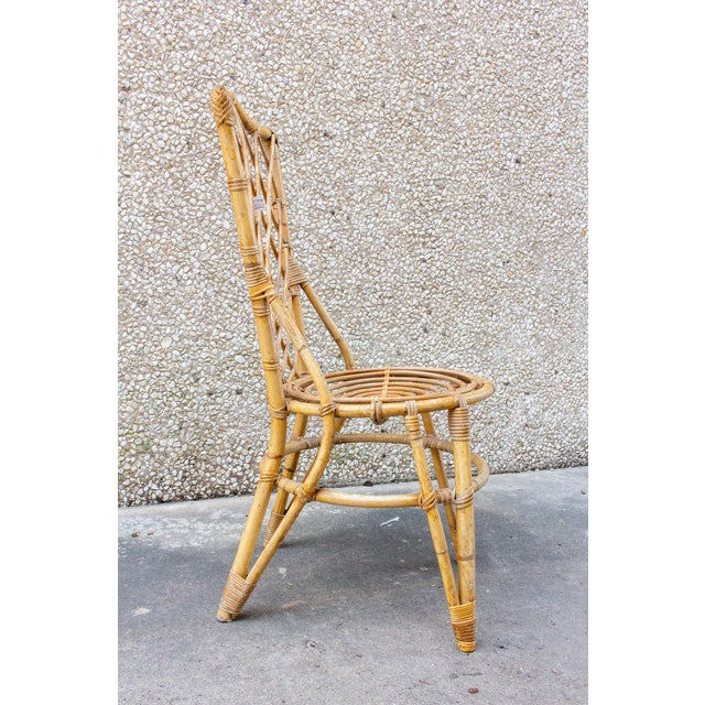 1960s Vintage French Bamboo and Rattan Dining Chairs- Set of 8 For Sale - Image 5 of 13