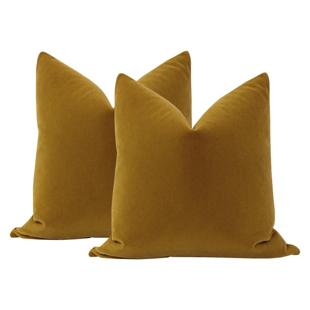 """2010s 22"""" Tobacco Mohair Pillows - a Pair For Sale - Image 5 of 5"""