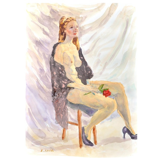 """""""The Rose"""" Original Watercolor by Esther Akrish - Image 1 of 3"""