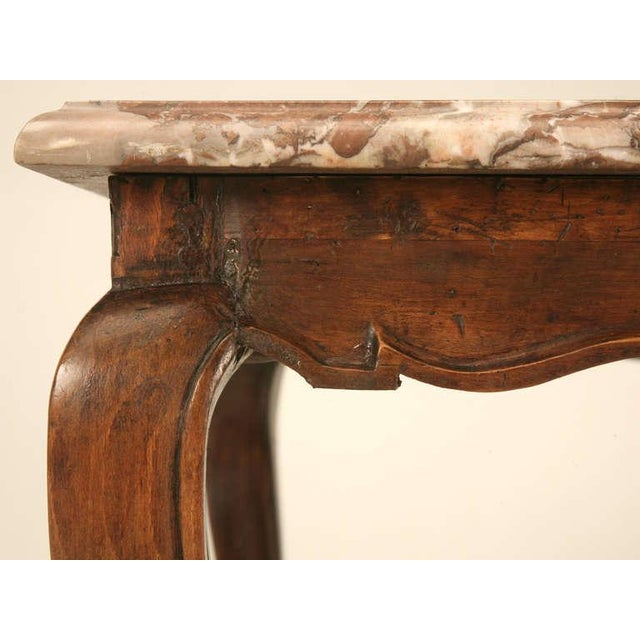 Early 18th Century 18th Century Antique French Louis XV Marble Top Cherry Side Table For Sale - Image 5 of 10