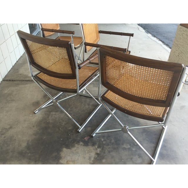 Mid-Century Faux Bamboo & Chrome Directors Chairs - Image 6 of 6