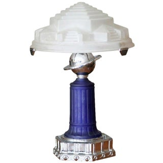Vianne Glass Art Deco Styled Cobalt Table Lamp For Sale
