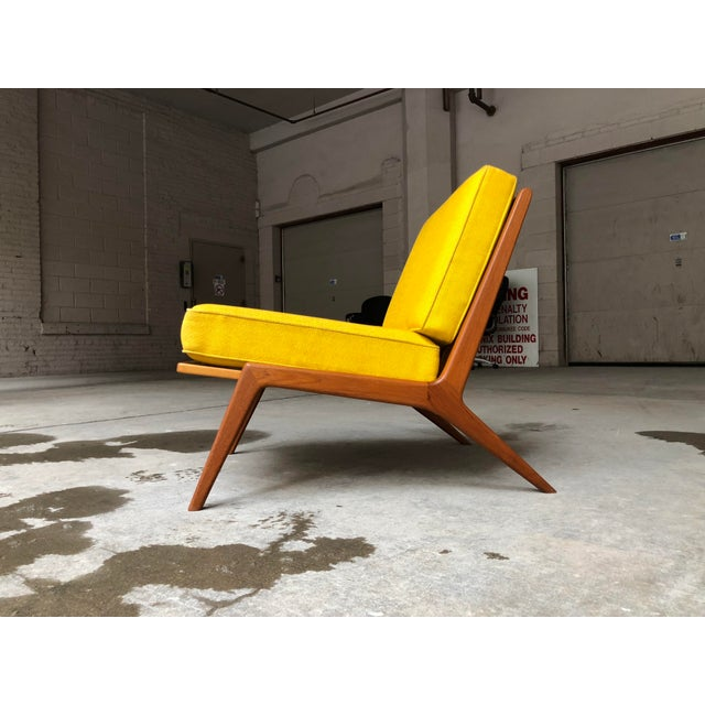 Contemporary Mid Century Danish Modern Ib Kofod-Larsen for Selig Teak Lounge Chair Yellow Cushions For Sale - Image 3 of 7