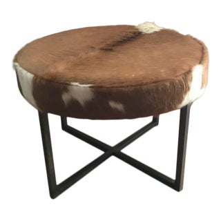 Circular Upholstered Cowhide Bench For Sale