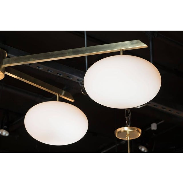 Brushed Brass & Frosted Glass Four-Arm Globe Chandelier For Sale In New York - Image 6 of 9