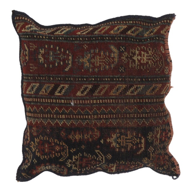 Persian Pillow W/ Antique Rug Fragment - 1'5 X 1'5 For Sale