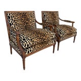 Image of Vintage French Louis Style Arm Chairs with Leopard Print - a Pair For Sale