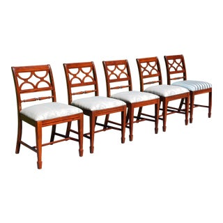 Vintage Set of 5 Federal Style Bernhardt Furniture Mahogany Dining Chairs For Sale