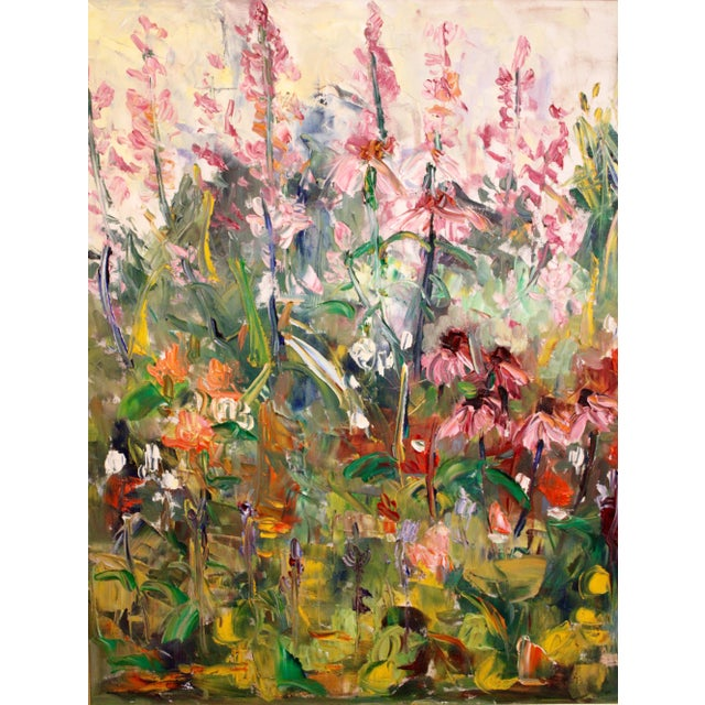"""Large Impressionist Botanical Framed Original Oil Painting, """"Fire Candle"""" by Geraldine Harty For Sale - Image 12 of 13"""