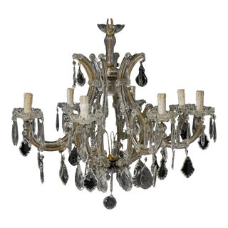 1940s Large Italian Maria Theresa Style Nine-Arm Crystal Chandelier Re-Wired For Sale