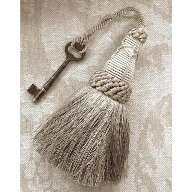 Silver Key Tassel in Pewter and Silver With Looped Ruche Trim For Sale - Image 8 of 10