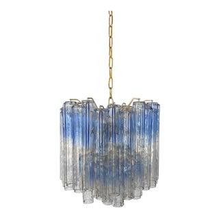 Toni Zuccheri for Venini Tronchi Blue Murano Glass Chandelier For Sale