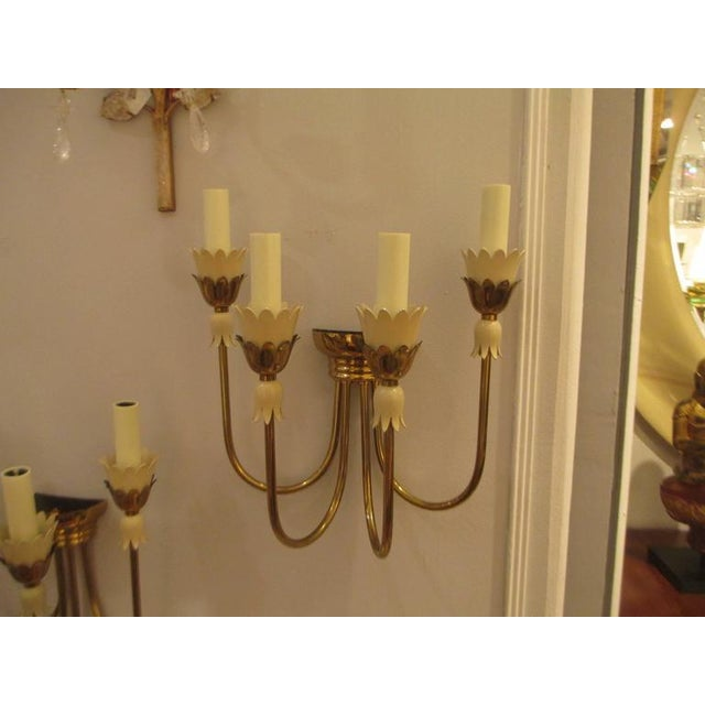 Mid 20th Century Pair of Mid-Century Italian Brass Sconces with Four Arms For Sale - Image 5 of 6
