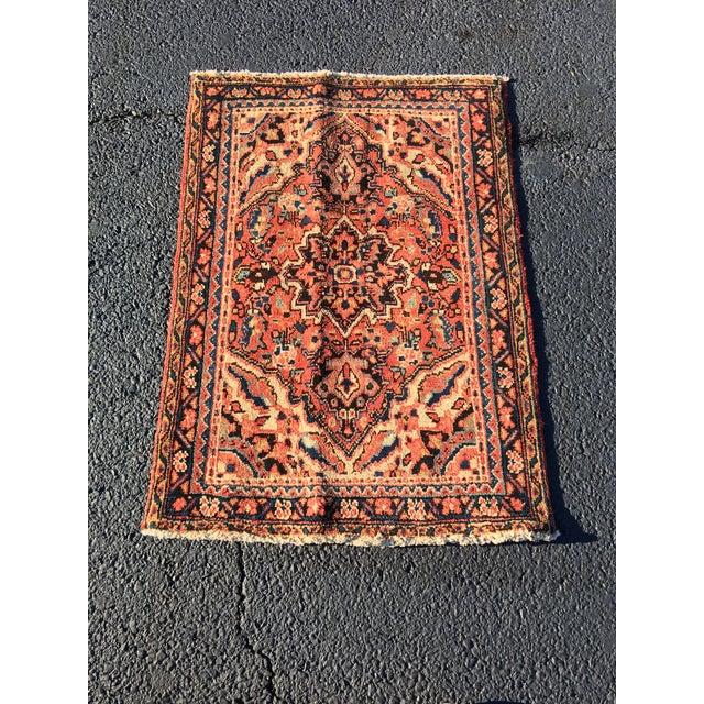 """Vintage Persian Heriz Welcome Mat - 2'5"""" x 3'5"""" - Image 2 of 9"""