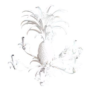 1960s White Tole Pineapple Chandelier For Sale
