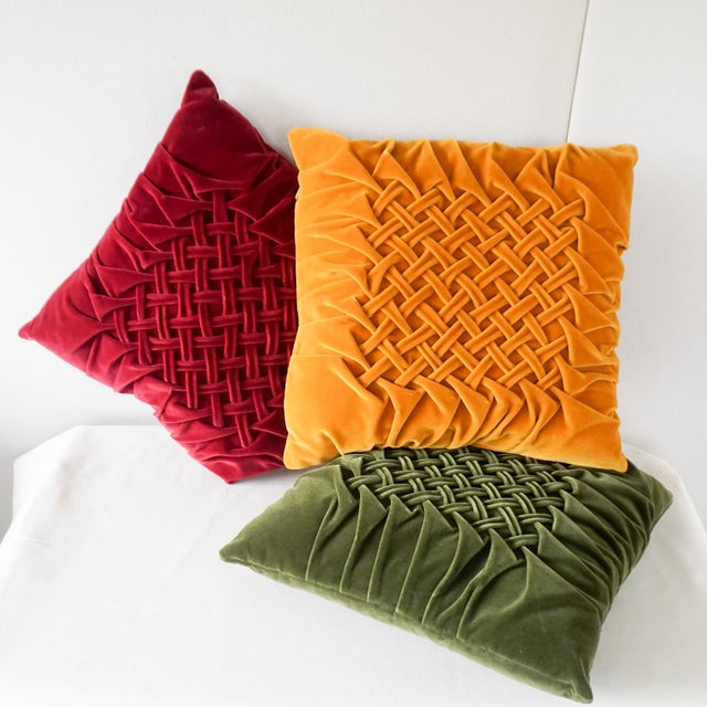 Velour Lattice Pattern Pleated Pillows - Set of 3 For Sale - Image 9 of 9