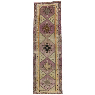 Vintage Turkish Oushak Extra Long Runner with Modern Style, Long Hallway Runner For Sale