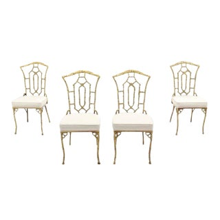 Set of Four Cast Aluminum Faux Bamboo Chairs with New Upholstery For Sale